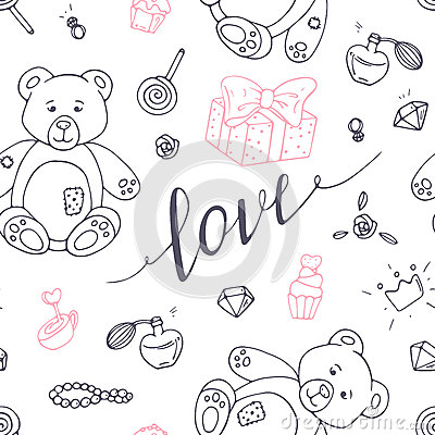 Valentines day outline seamless pattern with LOVE hand drawn sign Vector Illustration
