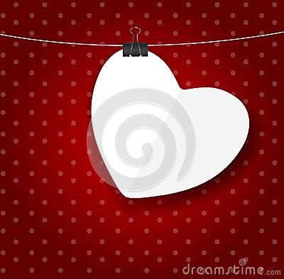 Valentines day paper heart backgroung, vector