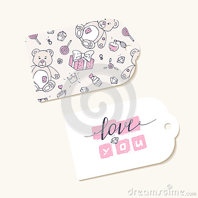Valentines day paper tags with LOVE YOU hand lettering sign Vector Illustration