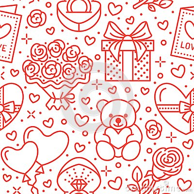 Free Valentines Day Pink Seamless Pattern. Love, Romance Flat Line Icons - Hearts, Chocolate, Teddy Bear, Engagement Ring Royalty Free Stock Image - 107868516