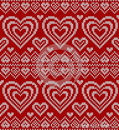 Valentines Day Red Knitted Vector Seamless Pattern Royalty