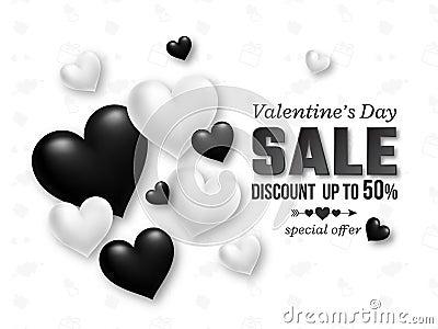 Valentines day sale background Cartoon Illustration