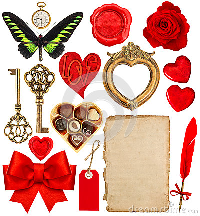 Free Valentines Day Scrapbook. Paper Pen, Red Hearts, Golden Frame Royalty Free Stock Photography - 65417357