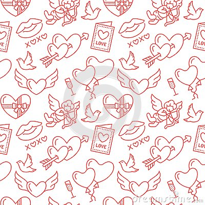 Free Valentines Day Seamless Pattern. Love, Romance Flat Line Icons - Hearts, Chocolate, Kiss, Cupid, Doves, Valentine Card Stock Image - 107559301