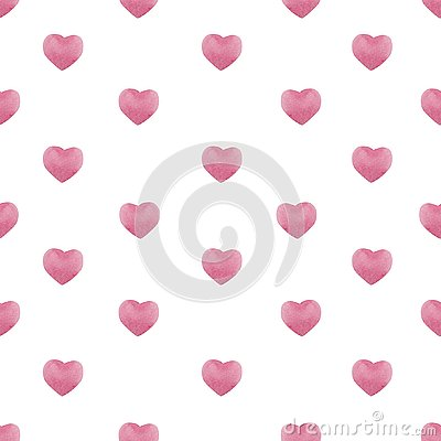 Valentines day seamless pattern with watercolor pink hearts , background for february 14 celebration Stock Photo