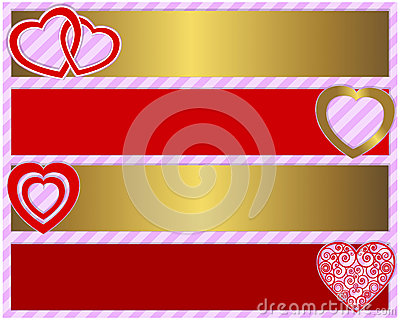 Valentines day set of four banners