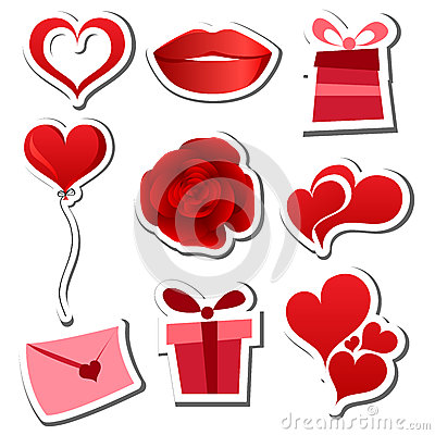 Valentines day sticker set