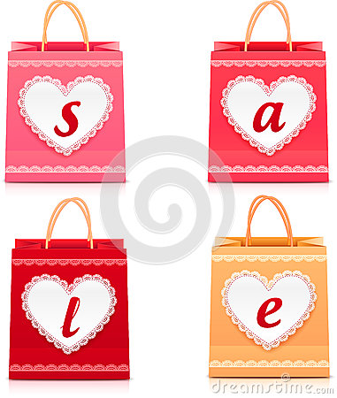 Valentines day vector lacy shopping bag sale set