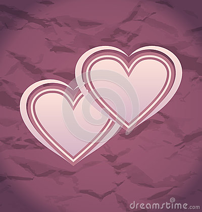 Valentines Day vintage background with hearts
