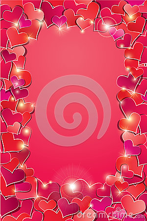 Valentines day or Wedding background with Red hear
