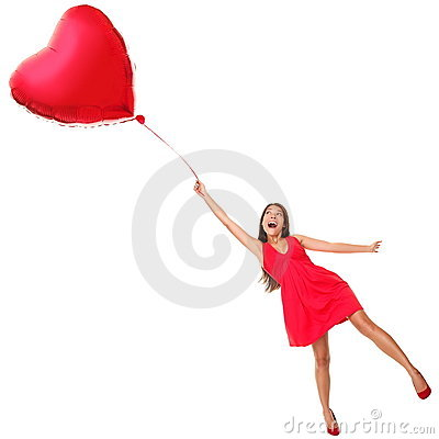 Free Valentines Day Woman Flying With Heart Balloon Stock Photos - 17764423