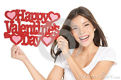 Valentines day - woman showing sign