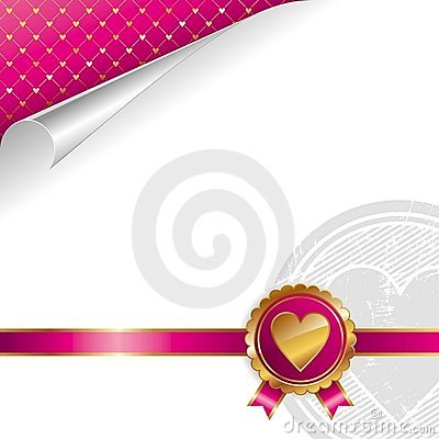 Valentines design with golden seal heart