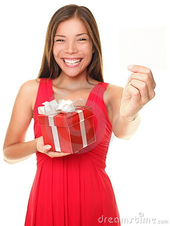Valentines gift card woman