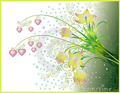 Valentines greeting card with bouquet