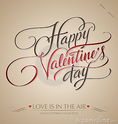 Free Valentines Hand Lettering (vector) Royalty Free Stock Photography - 22884707