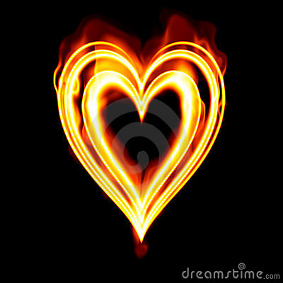 valentines Heart burning fire