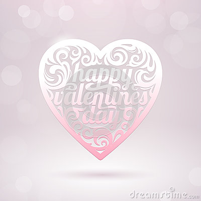 Valentines heart with holidays greeting
