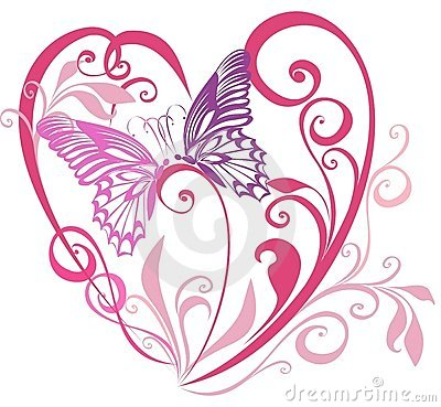 Valentines Hearts with butterfly. Vector