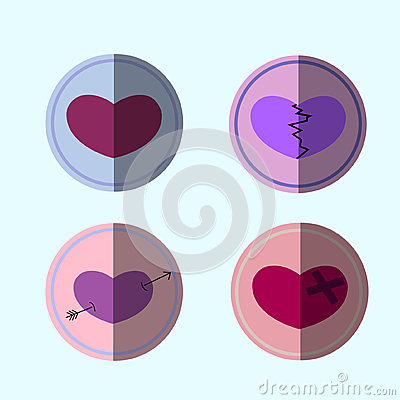 Valentines hearts set about emotions of people Vector Illustration