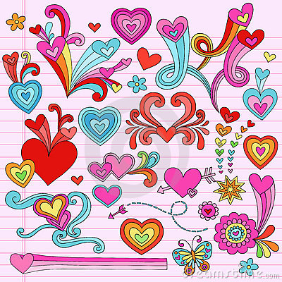 Free Valentines Love Heart Psychedelic Doodles Stock Image - 22871581