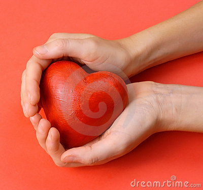 Free Valentines - Red Heart In Hands Stock Photography - 1727392