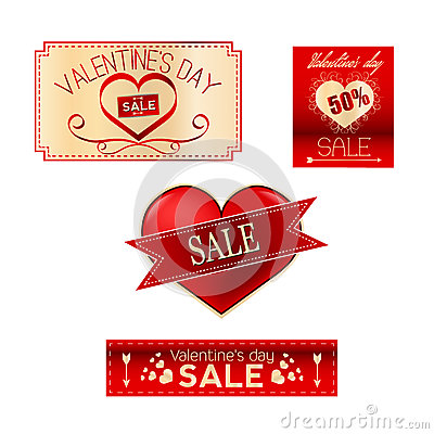 Valentines sale set Vector Illustration