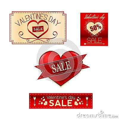 Valentines sale set Vector Illustration