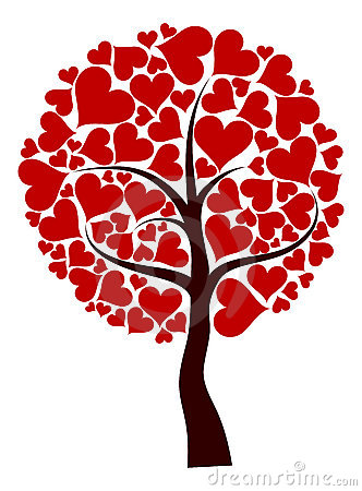 Valentines tree background, vector