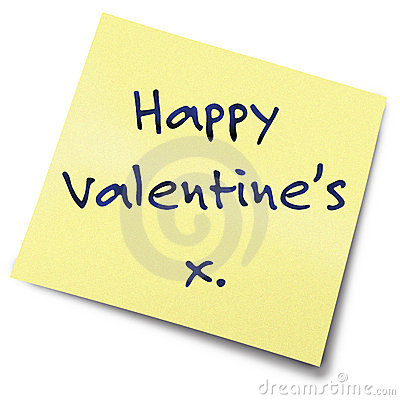 Valentines yellow note