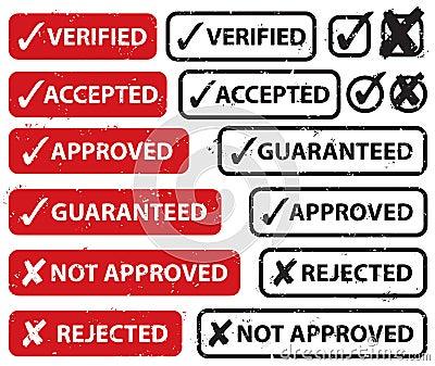 Valide el conjunto del sello del rechazo