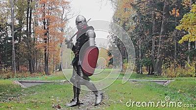 Valiente caballero guarda la espada de la historia de protección del sistema medieval almacen de metraje de vídeo