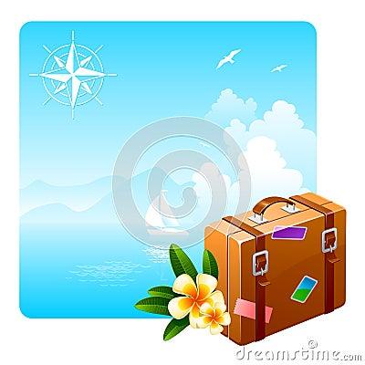 Valigia di corsa e fiori tropicali