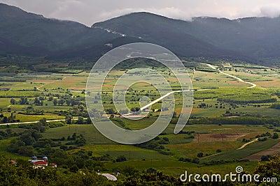 Vallei bij berg olympus in griekenland royalty vrije stock fotografie