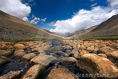 Valley and river in mountains. Himalayas