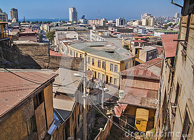 Valparaiso general view with funicular