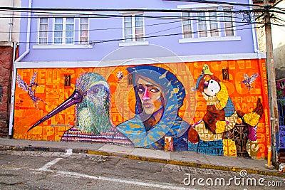 Valparaiso Street Art Graffiti Editorial Stock Photo