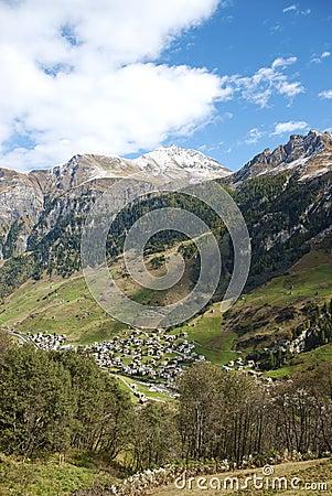 Vals village in switzerland alps