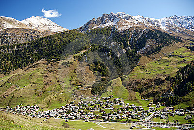Vals village in switzerland alps