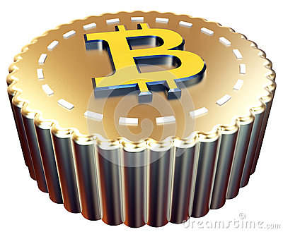 Valuta digitale del bottone di 3d Bitcoin