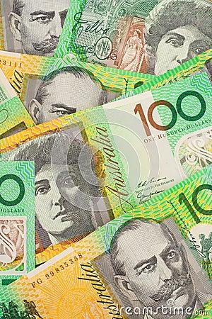 Valuta för 100 australiensisk bakgrundssedlar