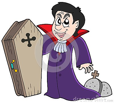 Vampire with coffin and graves