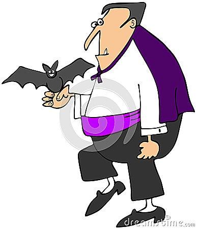 Vampire holding a bat