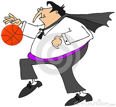 Vampire playing basketball