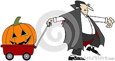 Vampire Pulling A Pumpkin
