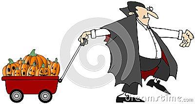 Vampire Pulling Pumpkins