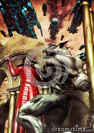 Vampire and werewolf battle
