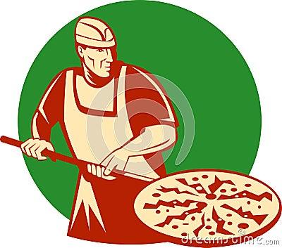 Van de de bakkersholding van de pizza het bakselpan