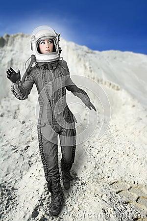 Van de de vrouwen de futuristische maan van de astronaut ruimteplaneten
