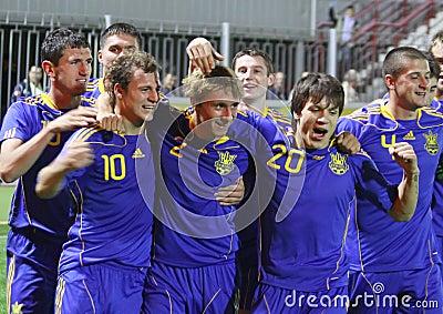Van de Oekraïne (onder-21) het Nationale Team Redactionele Afbeelding